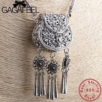 GAGAFEEL открытый замок сумка с кисточкой кулон ожерелье s S925 серебро ожерелье для женщин длинные аксессуары одежды 65 см