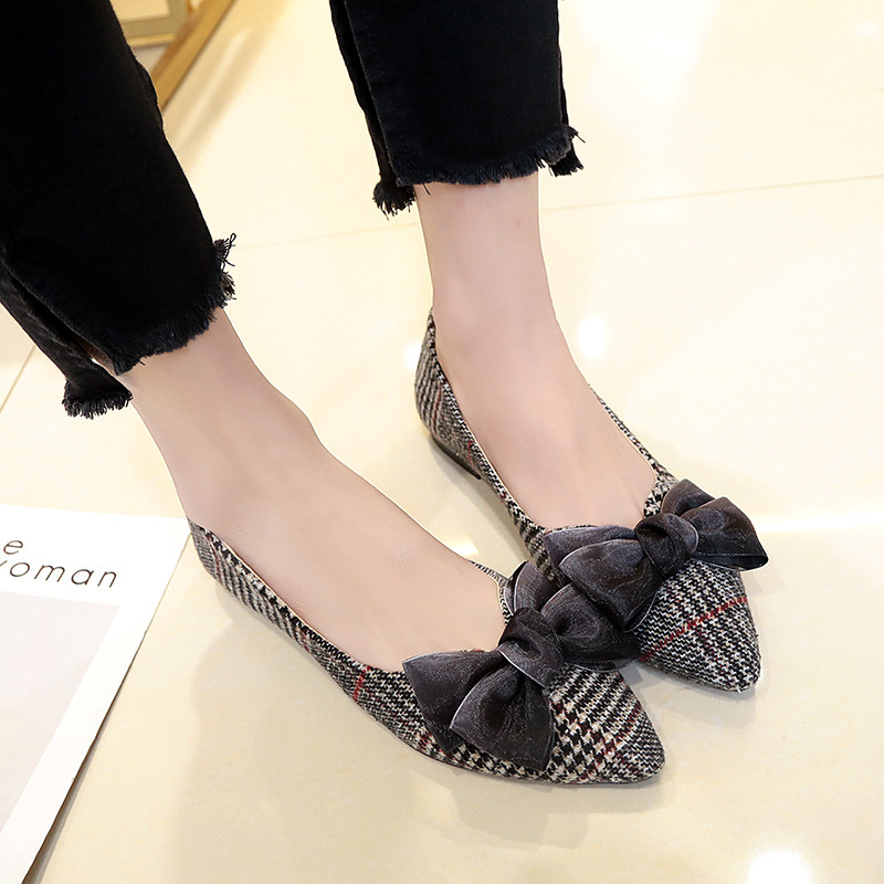 2018 Spring New Pattern Sharp Single Shoe Woman flates Bottom All-match. Bow One Pedal Dawdler Comfortable Casual Shoes недорого