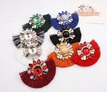 QUMORAIN Fan Shaped Vintage Tassel Crystal Dangle Earrings for Women Girl Bohemia Boho Cute Red White Large Drop Earring Jewelry