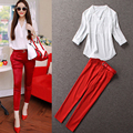 Women Suits Elegant Summer Pants Sets 2017 Fashion V-neck Half Sleeve 2 Piece Set Women Pant and Top Chiffon Blouse Plus size