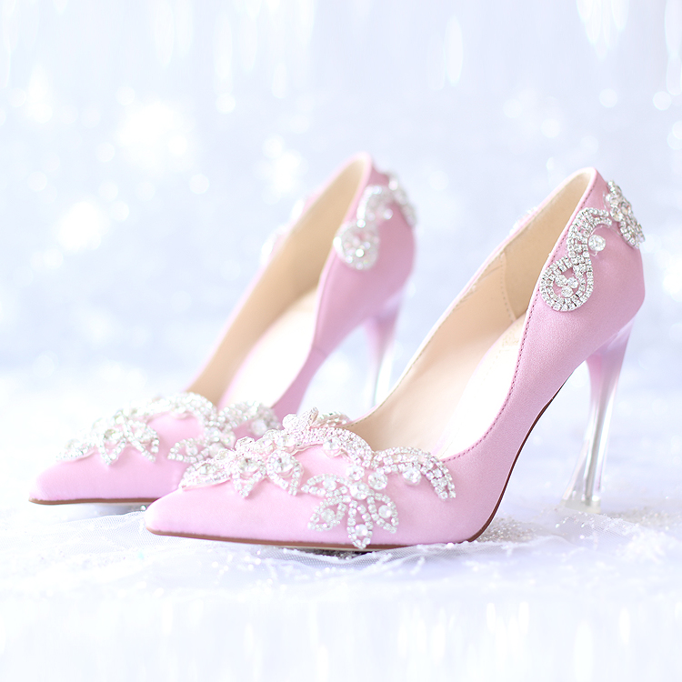 ФОТО 2017 Flowers Glass Slipper Diamond Bride Shoes High Heels 9cm Dress Shoes for Women's Shoes Pointed Red Satin Wedding Shoes Pump