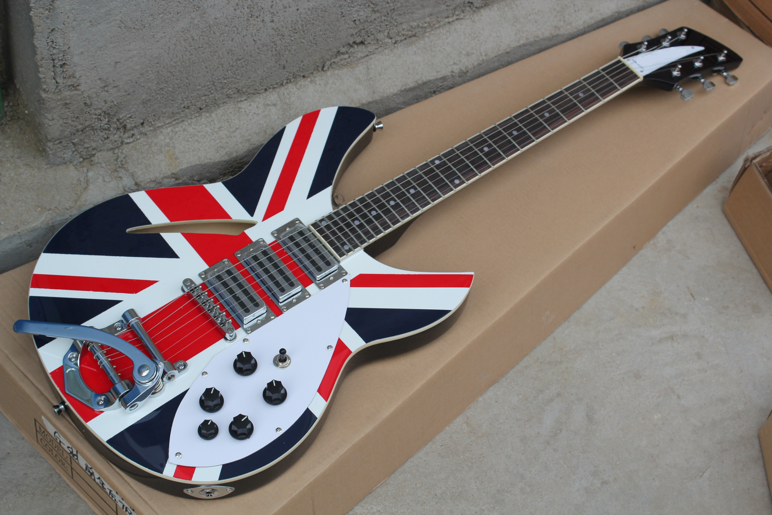 2019 new british flag ricken jazz electric guitar factory semi hollow maple body electric. Black Bedroom Furniture Sets. Home Design Ideas