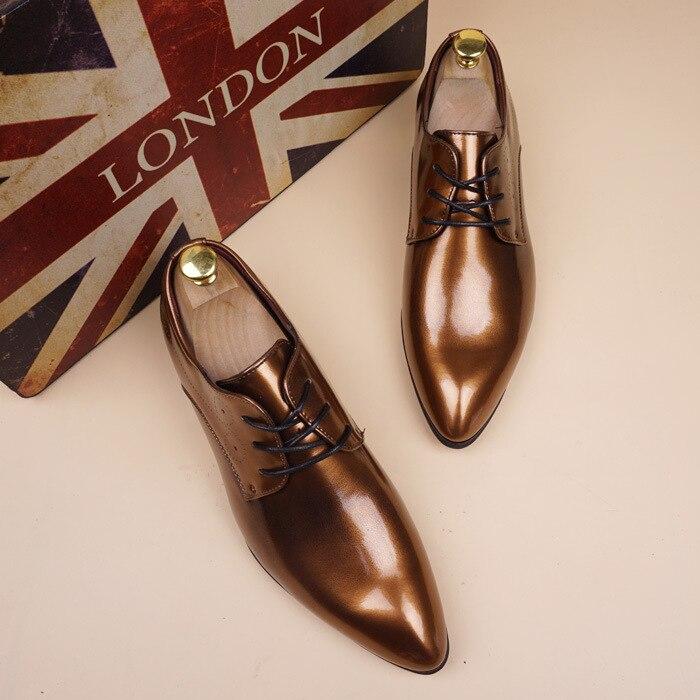 2019 chaussures en cuir verni hommes Vintage Oxfords pour hommes chaussures habillées formelles hommes chaussures bureau à lacets hommes chaussures habillées jki