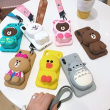 3D Cartoon Totoro Cony Sally Zipper Wallet Phone Case For OnePlus 7 6 6T 5 5T Cute Cartoon Soft Silicone Cover(China)