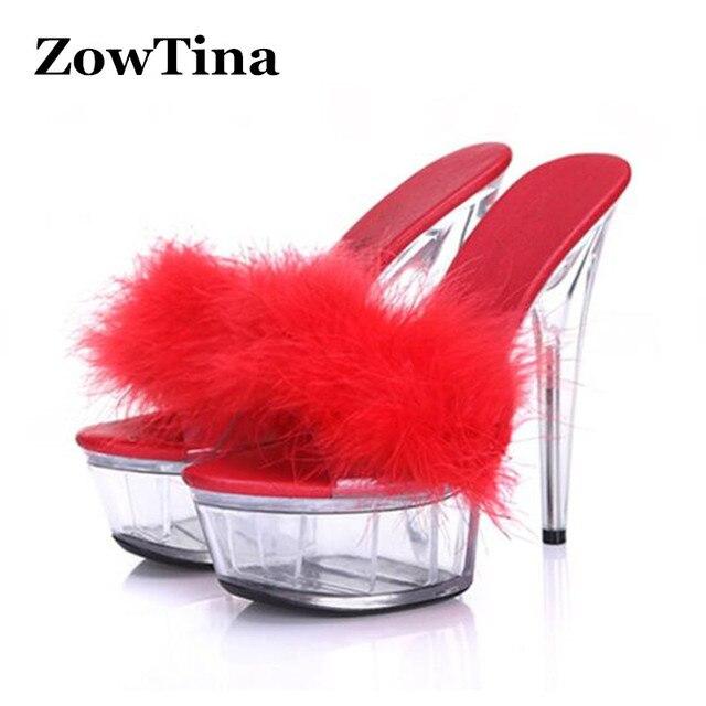07c29d9557a 15cm High Heels Women Fur Slippers Summer Fashion Zapatillas Transparent  Platform Heels Sandals Shoes Woman Fur Slides Sapatos