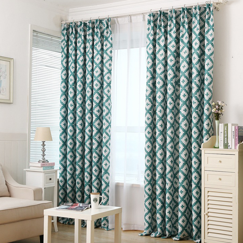 Online Get Cheap Teal Print Curtains Aliexpress Com Alibaba Group