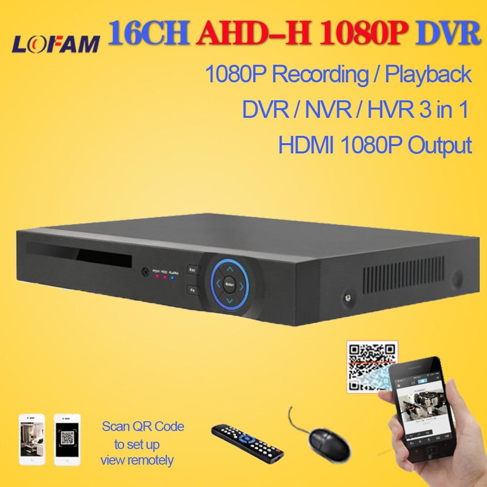 LOFAM AHD DVR 16ch 1080P home surveillance 16 channel AHDH security CCTV DVR digital video recorder