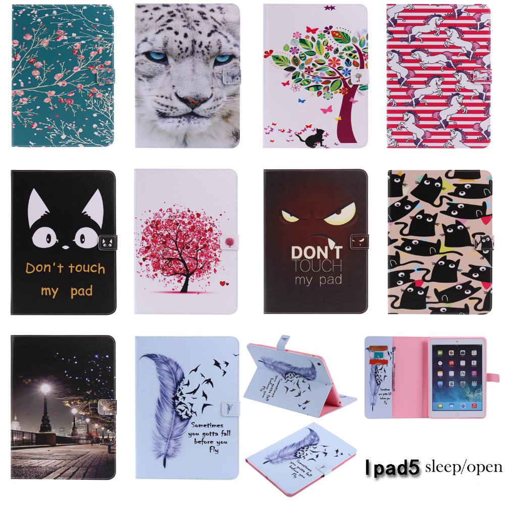 Fashion High Quality Painted With Stand Flip PU Leather For iPad Air Case For Apple iPad Air iPad 5 iPad5 Smart Case Cover