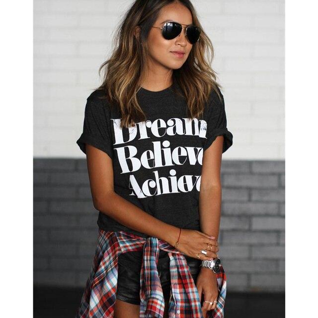 01daa2ab1 Night Club algodón mujeres DREAM BELIEVE conseguir rayas carta impresa  camiseta Tops Harajuku Tee blanco negro