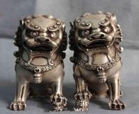 A Pair of Exquisite Chinese Folk White Copper Fengshui Foo Dog lion Beast Statues Sculptures