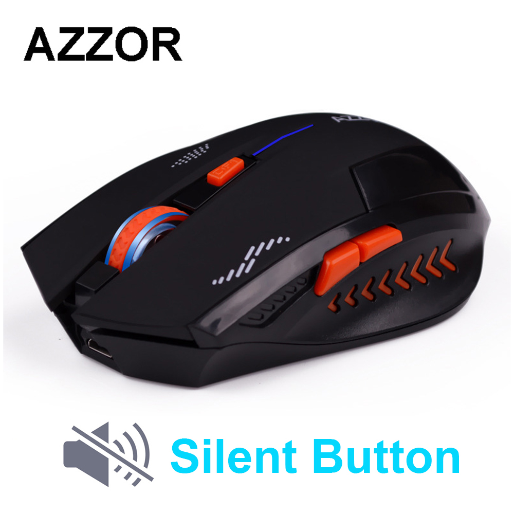 AZZOR recargable ratón inalámbrico botón Slient ordenador Gaming 1600 dpi batería incorporada con Cable de carga para ordenador portátil