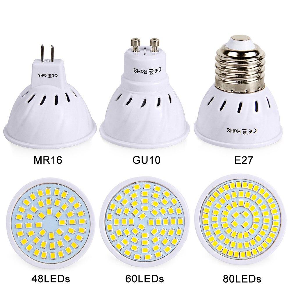 Led Spotlight GU10 MR16 E27 Lamp Led Bulb 220V 230V High Bright Bombillas LED Light SMD2835 48/60/80LEDs Lampara For Home Lamps ultra bright e27 led lamp smd 2835 bombillas e14 12w led bulb light 220v spotlight lamparas led high quality energy saving
