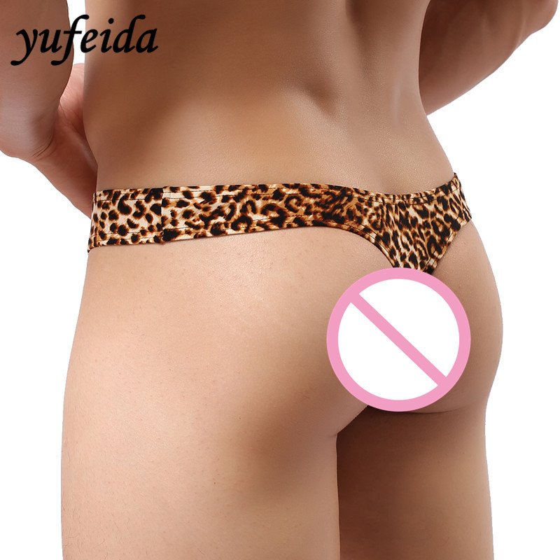 Pouch Underpants Bikinis G-String Yellow Short Boxers Print Sexy Men's Cool Leopard Low-Rise