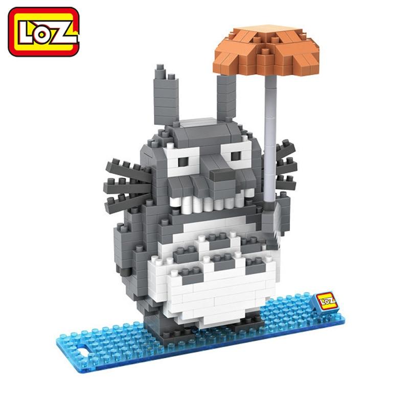 LOZ My Neighbor Totoro Toy Umbrella Totoro Model Action Figure Diamond Building Blocks Original Box 14+ Gift 9509 loz avatar pandora na vi jake sully neytiri diamond building blocks action figure diy toy children educational model figure