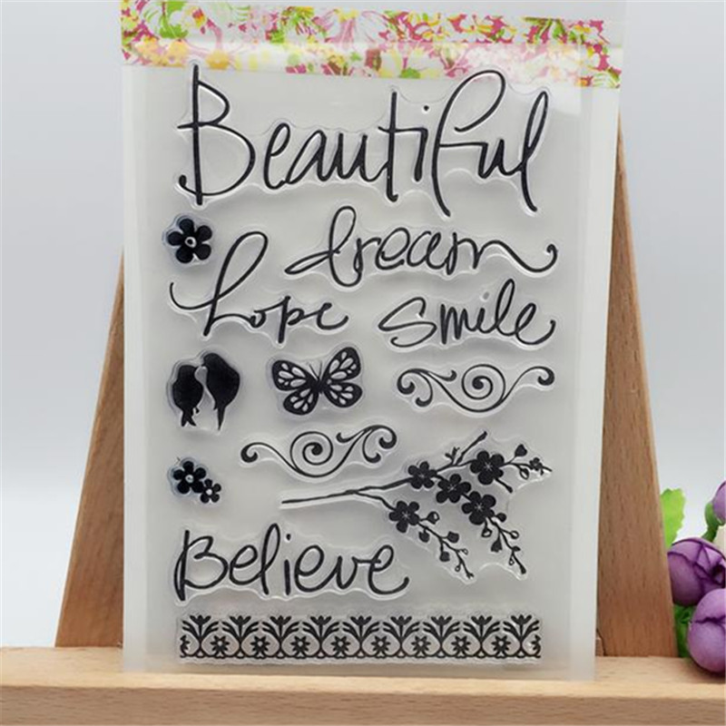 Beautiful Butterfly Flowers Transparent Clear Stamp DIY Silicone Seals Scrapbooking/Card Making/Photo Album Decoration Supplies