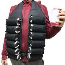 Chaleco con cinturón de cerveza, bolsa de transporte de hombro desmontable portátil transpirable, soporte para latas de bebidas, herramienta al aire libre, 12 paquetes/una docena