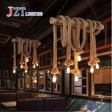 Z American Industrial Lamps Retro Double Head Rope Pendant Light Loft Vintage Lamp Led Diningroom Hand Knitted Hemp Rope Light