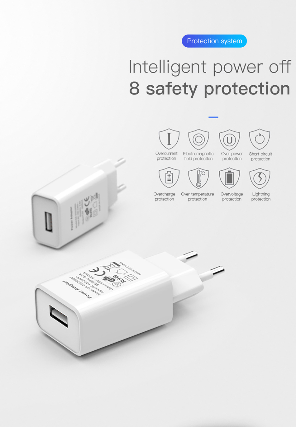 !ACCEZZ USB Charger 5V 1A Adapter For iphone 7 8 XS EU Plug Mobile Phone Wall Travel Charger Universal For Samsung S8 S9 Xiaomi (5)