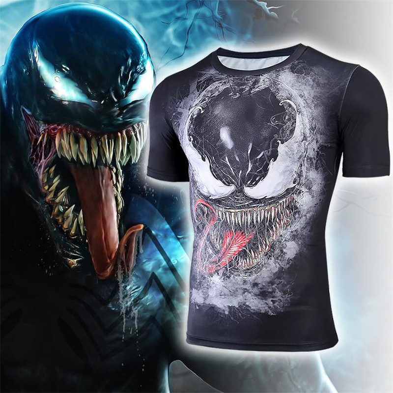 Hot New Movie Spider Man Venom Eddie Brock Armor Cosplay Costumes Quick Dry Tights T Shirt Short Sleeve Fashion Man in Zentai from Novelty Special Use