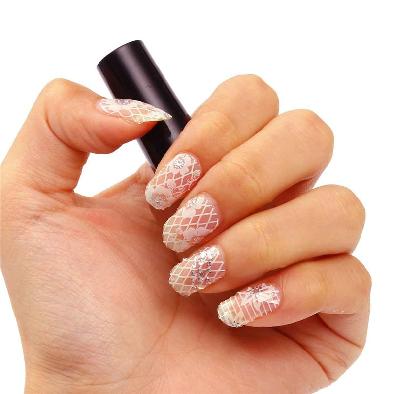 12Tips/Pack 3D Nail Art Stickers Nightlight Lace Transparent Nails ...