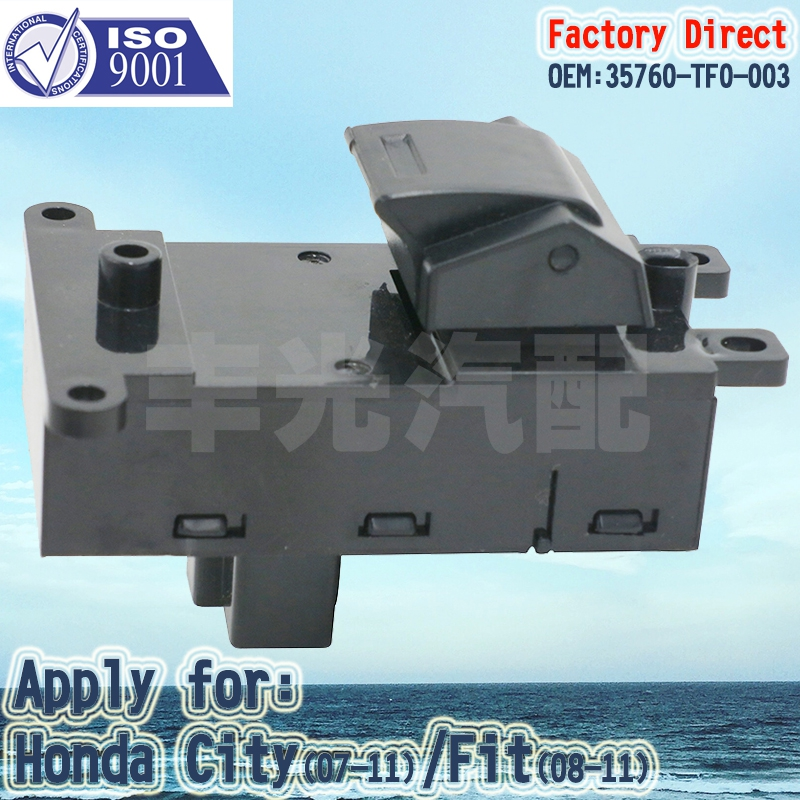 Factory Direct Auto Power Window Switch Apply For Honda City(07-11) Fit(08-11)PASSENGER Side (3PCS/Lot) 35760-TF0-003