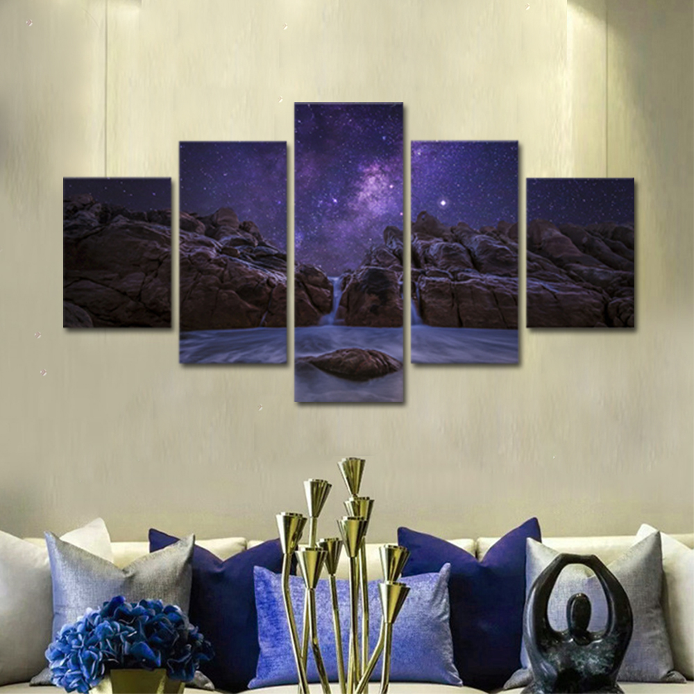 Unframed Canvas Painting Night Stars Reef Seawater Photo Prints Wall Pictures For Living Room Wall Art Decoration