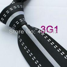 Coachella Мужские галстуки черный с серебряными полосками галстук из микрофибры тканый галстук в деловом стиле для мужчин
