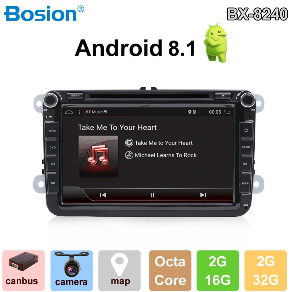 2 Din Android 8.1 Car Radio GPS Navigation Bluetooth USB 8''HD Touch Multimedia DVD Player For Volkswagen VW Golf Polo Passat