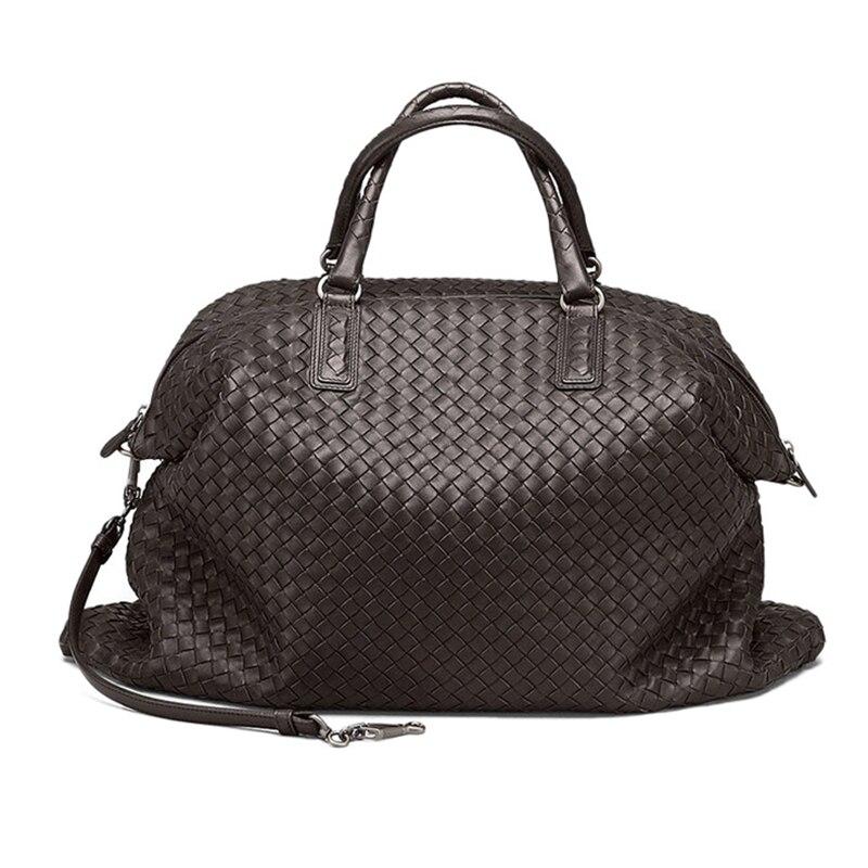 Marque femmes sacs à main en cuir véritable mode tissé sacs à bandoulière grande capacité sacs à tricoter en peau de mouton de haute qualité bolsa feminina-in Sacs à bandoulière from Baggages et sacs    2