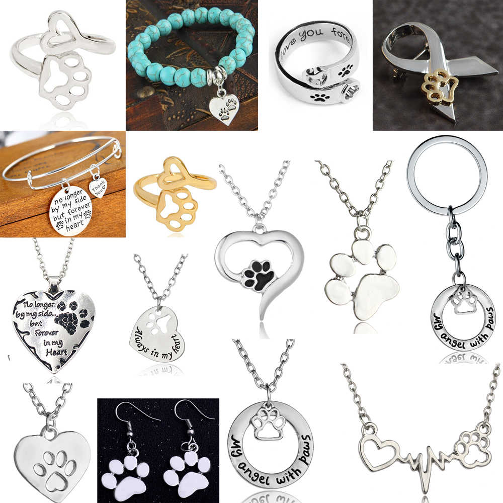 Fashion Silver Gold Paw Print Necklace Jewellery Keyring Charms Chain Pendant Gifts Women Necklaces Pet Lover Dog Cat Footprint
