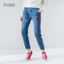 PASS Autumn Demin Jeans Women Heart Embroidered Letter Print Pants Fashion Zipper Style Loose Straight Ladied Cotton Jeans