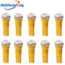 цена на 10pcs T5 1 SMD 5050 Yellow LED Car Bulb Lamp interior Lights 74 dash led car bulbs Car Light Source parking Wedge Signal 12V