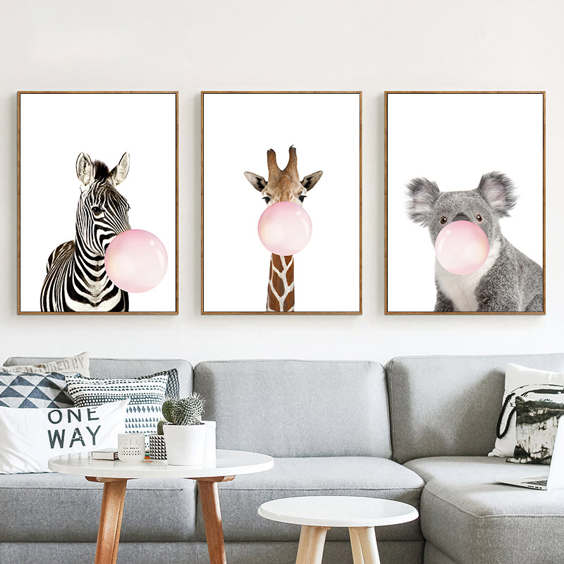 buy pink balloon hot nordic cartoon a zebra cute wall pictures for kids living. Black Bedroom Furniture Sets. Home Design Ideas