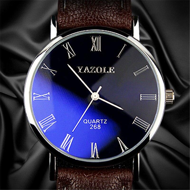 Yazole marque Montre hommes mode bracelet en cuir décontracté classique bleu verre hommes d'affaires montres à Quartz Montre Homme