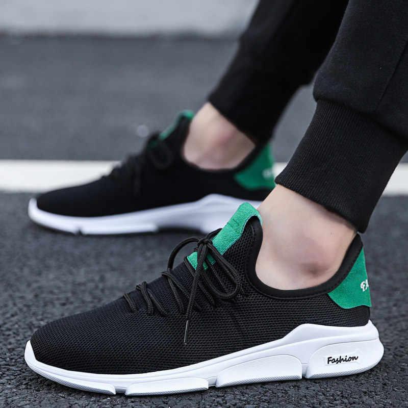 e807ec8bafa60 Mesh Men Casual Shoes Men Sneakers Breathable Black Men Trainers Footwear  Loafers Fashion Lace up Walking