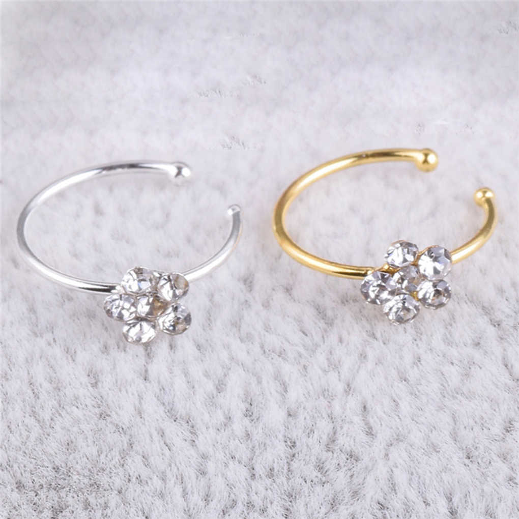 Rhinestone Flower Fake Hoop Nose Ring Punk Fake Lip Clip Girl Nostril Hoop Ear Hoop Ring Body Jewelry For Party