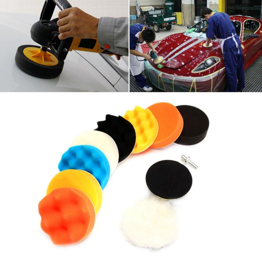 цена на 11Pcs 3 5 6 7 Car Polish Pad Sponge Buffing Polishing Waxing Pad Kit Car Auto Polisher Buffer with Drill Adapter wax pad