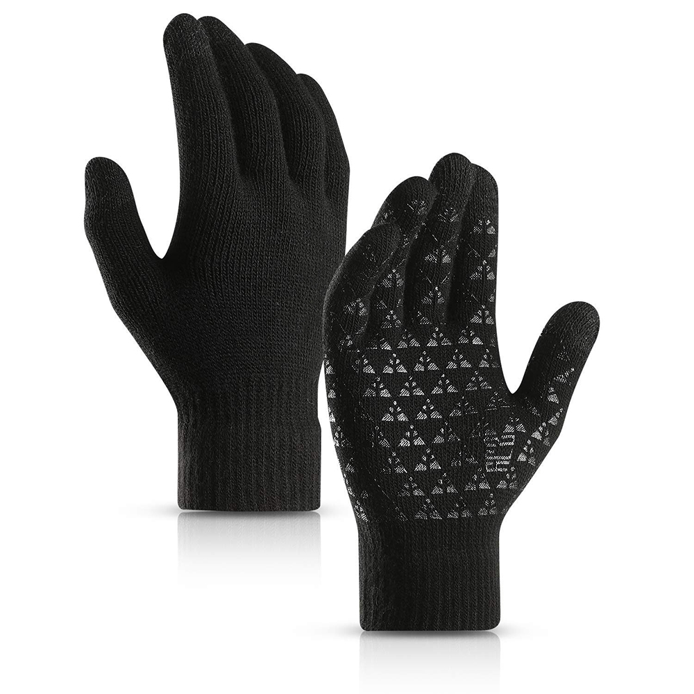 Winter Warm Bike Cycling Gloves Men Women Knit Anti-Slip Touch Screen Gloves Full Finger Skiing Snow Gloves Thermal Soft Wool