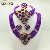 Traje roxo Conjunto de Jóias de Casamento Nigeriano Beads Africanos Conjunto de Cristal Braid Colar Pingente Set Frete Grátis