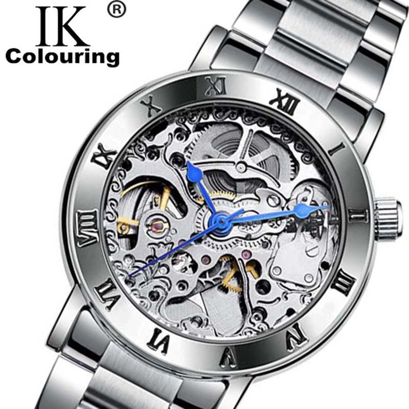 Ik часы Для женщин роман наручные Скелет Авто Механическая нержавеющей стали группа часы для девочек regarder