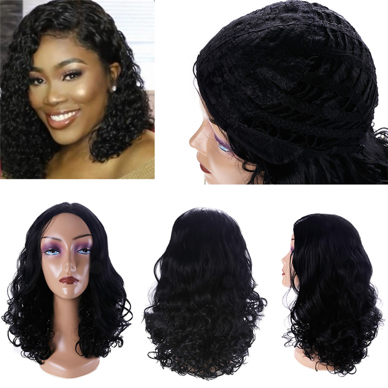 Woman Lace Front Human Hair Wigs Long Curly Wave Hair Wig 32cm Heat Resistant Lady Beauty Party Fashion wig Accessories #289110