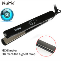 Titanium Plates Hair Straightener LCD Display Straightening Iron MCH Fast Heating Curling Iron Flat Iron Salon