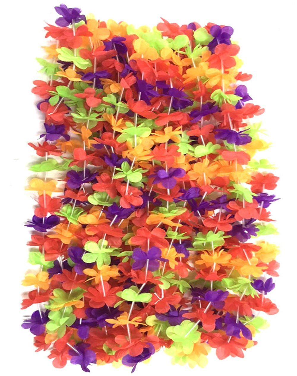 Christmas beach ornaments - 2016 Hawaiian Colorful Flower Leis Necklaces For Tropical Island Beach Theme Party Event Set Of