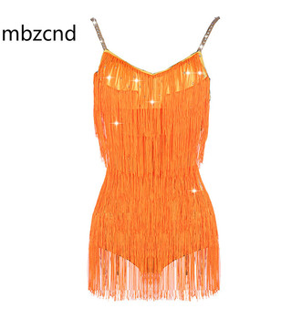 Shiny Rhinestone Latin Dance Dresses For Women Bright Orange Lace Club Party Dancer Singer Entertainer Sexy Tassel Dress