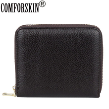 COMFORSKIN Large Capacity Card Case Luxurious 100% Genuine Leather Litchi Pattern Multi-Card Bit Business Card Credit Holders comforskin luxurious 100% genuine leather multi card bit woman zipper purses famous brand long large capacity women s wallets