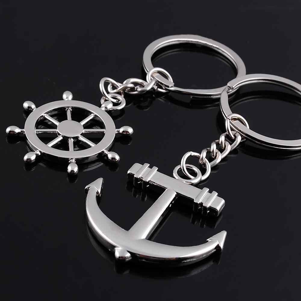 Livre o navio! 1 lote = 30 par! Bonito liga leme e âncora Casal Moda chaveiro/keychain dos amantes/Pentes de Ligação & Espinhos