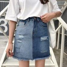 Hunter-желание Летний стиль 2017 г. женские Мини-юбки Высокая Талия пикантные женские карманов синие джинсы онлайн рваные юбка