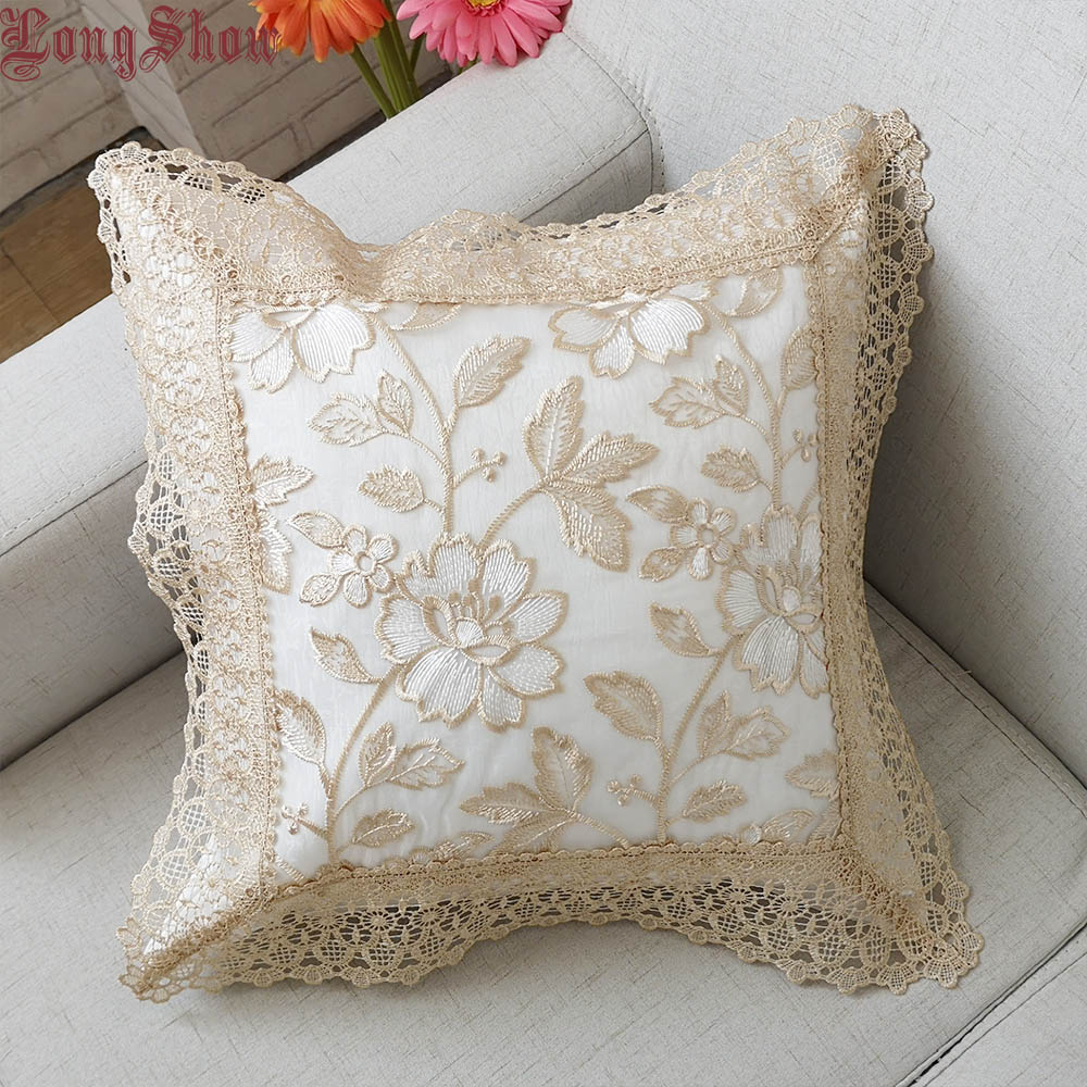 Home Decorative Floral Style Organza Fabric 45x45cm Square Embroidery Pillow Case Pillow Cover With Elegant Lace Trimmings