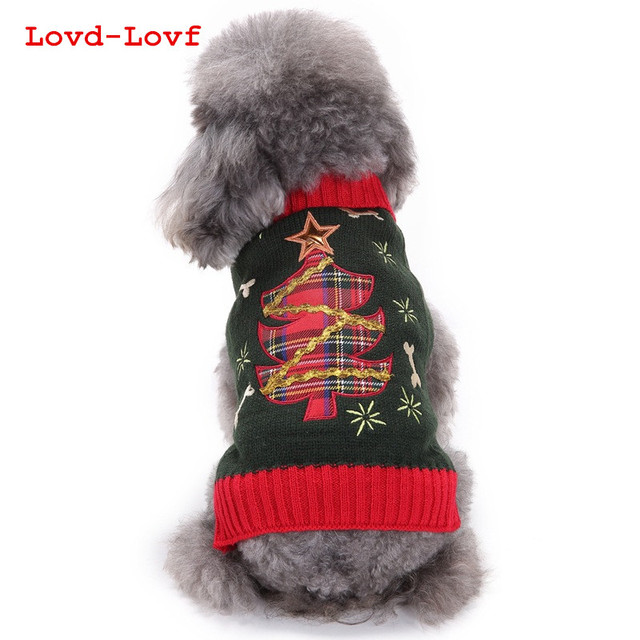 lovd lovf 2017 dog clothes high quality grey dog sweaters for large dogs christmas tree - Large Dog Christmas Sweaters