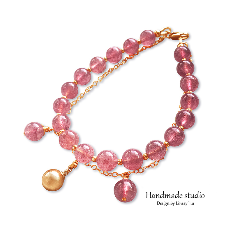 La MaxZa Strawberry Quartz Bracelets Fall In Love Charm Romantic Women Handmade Design 14Kgold Filled Strand